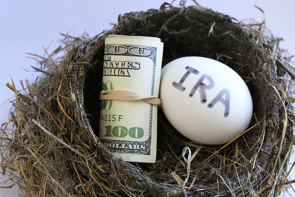 photo illustration of a nest egg with IRA written on it and a wad of money